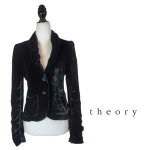 THEORY Crushed Velvet Velour Black Blazer Jacket